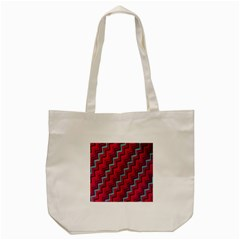 Red Turquoise Black Zig Zag Background Tote Bag (cream) by BangZart