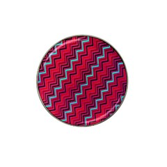 Red Turquoise Black Zig Zag Background Hat Clip Ball Marker (4 Pack) by BangZart