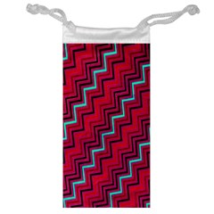 Red Turquoise Black Zig Zag Background Jewelry Bag