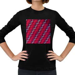 Red Turquoise Black Zig Zag Background Women s Long Sleeve Dark T Shirts