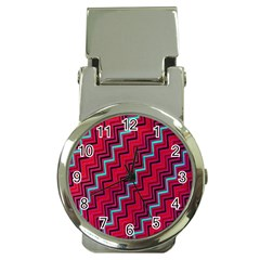 Red Turquoise Black Zig Zag Background Money Clip Watches