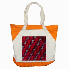 Red Turquoise Black Zig Zag Background Accent Tote Bag by BangZart