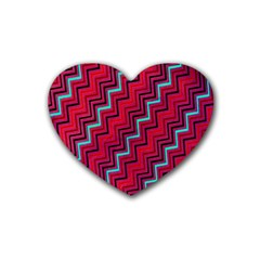 Red Turquoise Black Zig Zag Background Rubber Coaster (heart)  by BangZart