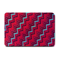 Red Turquoise Black Zig Zag Background Small Doormat  by BangZart