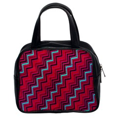 Red Turquoise Black Zig Zag Background Classic Handbags (2 Sides)