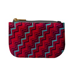 Red Turquoise Black Zig Zag Background Mini Coin Purses