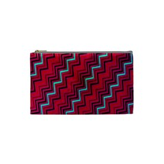 Red Turquoise Black Zig Zag Background Cosmetic Bag (small)  by BangZart