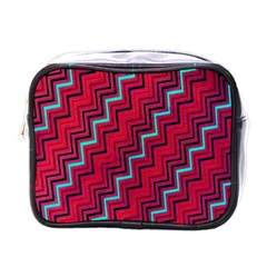 Red Turquoise Black Zig Zag Background Mini Toiletries Bags by BangZart