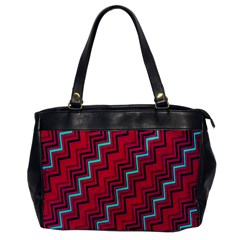 Red Turquoise Black Zig Zag Background Office Handbags by BangZart