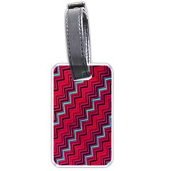 Red Turquoise Black Zig Zag Background Luggage Tags (two Sides)