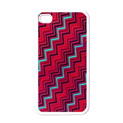 Red Turquoise Black Zig Zag Background Apple Iphone 4 Case (white) by BangZart