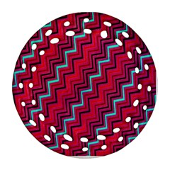 Red Turquoise Black Zig Zag Background Round Filigree Ornament (two Sides)