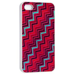 Red Turquoise Black Zig Zag Background Apple Iphone 4/4s Seamless Case (white) by BangZart
