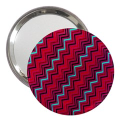 Red Turquoise Black Zig Zag Background 3  Handbag Mirrors by BangZart