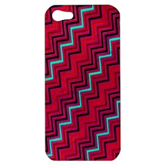 Red Turquoise Black Zig Zag Background Apple Iphone 5 Hardshell Case