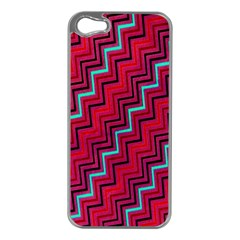 Red Turquoise Black Zig Zag Background Apple Iphone 5 Case (silver) by BangZart