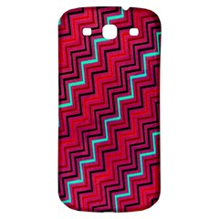 Red Turquoise Black Zig Zag Background Samsung Galaxy S3 S Iii Classic Hardshell Back Case by BangZart