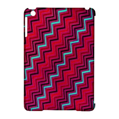 Red Turquoise Black Zig Zag Background Apple Ipad Mini Hardshell Case (compatible With Smart Cover) by BangZart