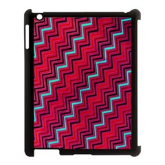 Red Turquoise Black Zig Zag Background Apple Ipad 3/4 Case (black) by BangZart