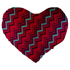 Red Turquoise Black Zig Zag Background Large 19  Premium Heart Shape Cushions by BangZart