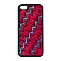 Red Turquoise Black Zig Zag Background Apple Iphone 5c Seamless Case (black) by BangZart