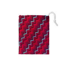Red Turquoise Black Zig Zag Background Drawstring Pouches (small)  by BangZart