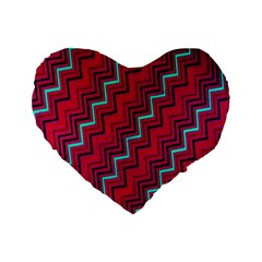 Red Turquoise Black Zig Zag Background Standard 16  Premium Flano Heart Shape Cushions by BangZart