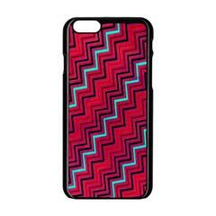 Red Turquoise Black Zig Zag Background Apple Iphone 6/6s Black Enamel Case