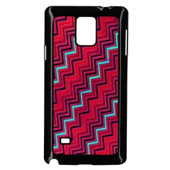 Red Turquoise Black Zig Zag Background Samsung Galaxy Note 4 Case (black) by BangZart