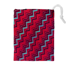 Red Turquoise Black Zig Zag Background Drawstring Pouches (extra Large)