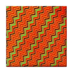 Orange Turquoise Red Zig Zag Background Tile Coasters