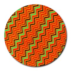 Orange Turquoise Red Zig Zag Background Round Mousepads by BangZart