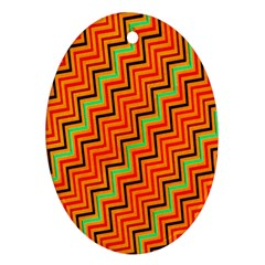 Orange Turquoise Red Zig Zag Background Ornament (oval) by BangZart