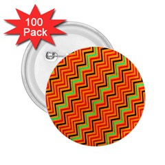 Orange Turquoise Red Zig Zag Background 2 25  Buttons (100 Pack)