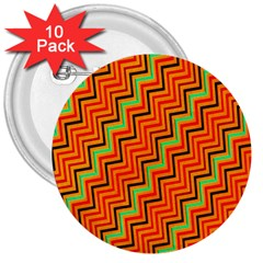 Orange Turquoise Red Zig Zag Background 3  Buttons (10 Pack)