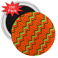 Orange Turquoise Red Zig Zag Background 3  Magnets (100 Pack) by BangZart