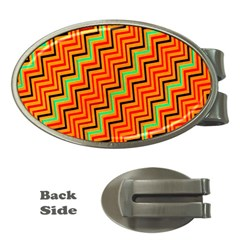 Orange Turquoise Red Zig Zag Background Money Clips (oval)  by BangZart