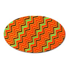 Orange Turquoise Red Zig Zag Background Oval Magnet by BangZart