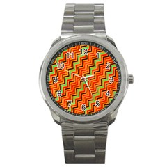 Orange Turquoise Red Zig Zag Background Sport Metal Watch by BangZart