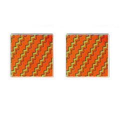 Orange Turquoise Red Zig Zag Background Cufflinks (square)