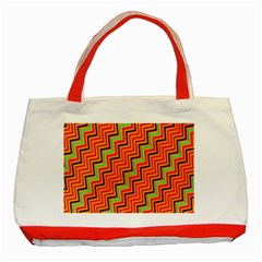 Orange Turquoise Red Zig Zag Background Classic Tote Bag (red) by BangZart