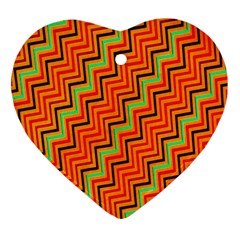 Orange Turquoise Red Zig Zag Background Heart Ornament (two Sides) by BangZart