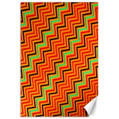Orange Turquoise Red Zig Zag Background Canvas 20  X 30   by BangZart