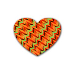 Orange Turquoise Red Zig Zag Background Rubber Coaster (heart)  by BangZart