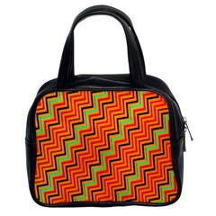 Orange Turquoise Red Zig Zag Background Classic Handbags (2 Sides)