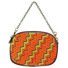 Orange Turquoise Red Zig Zag Background Chain Purses (one Side)  by BangZart