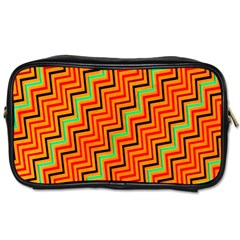 Orange Turquoise Red Zig Zag Background Toiletries Bags 2 Side by BangZart