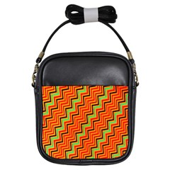 Orange Turquoise Red Zig Zag Background Girls Sling Bags by BangZart