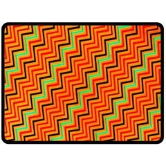 Orange Turquoise Red Zig Zag Background Fleece Blanket (large)