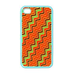 Orange Turquoise Red Zig Zag Background Apple Iphone 4 Case (color)